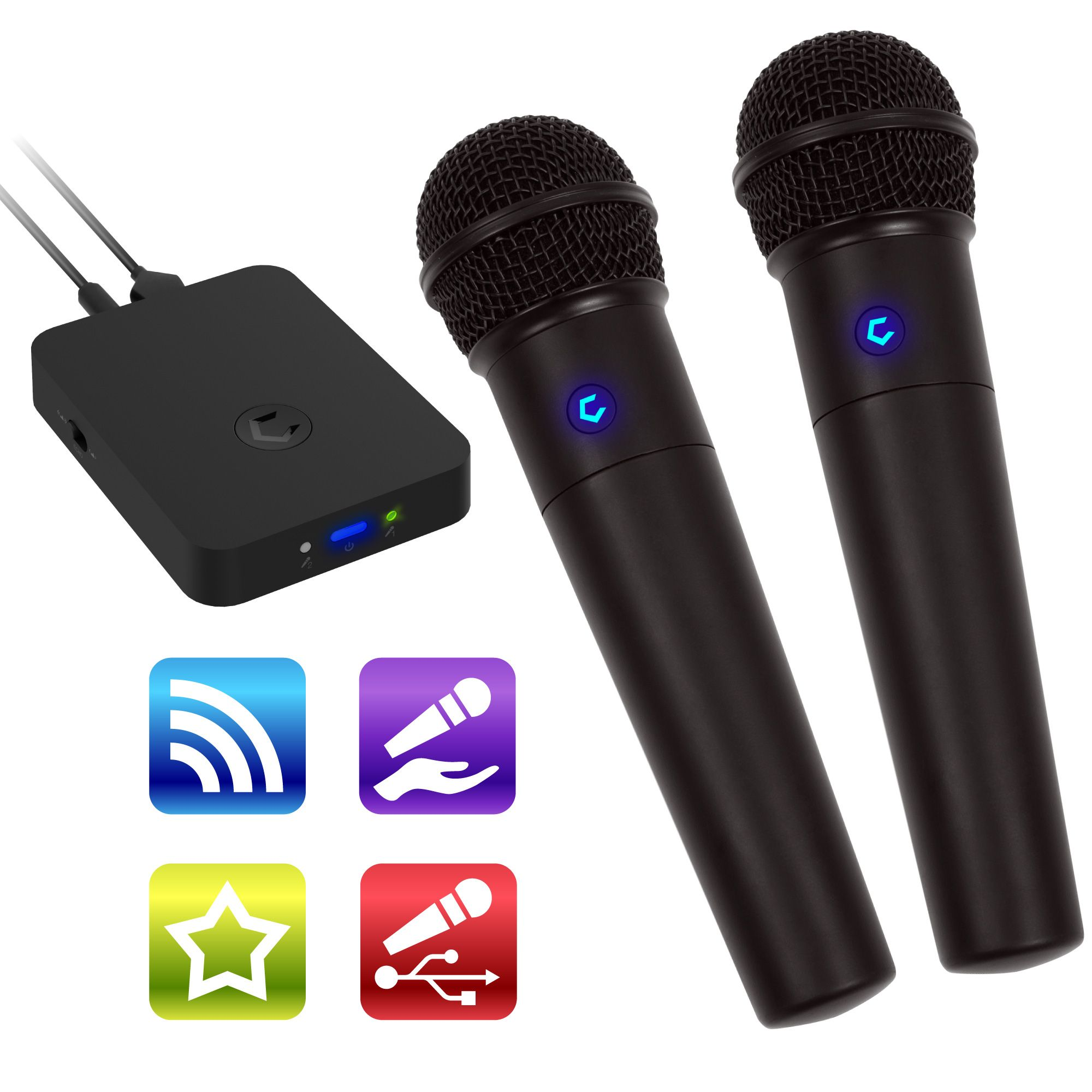 Cobble Pro Portable Bluetooth Karaoke System & 2-pc Wireless Microphone Singing Anywhere for Cell Phone iPhone iPad Tablet Laptop (Source Vocal Removal Technology)(Echo Sound Effect)(USB Rechargeable)