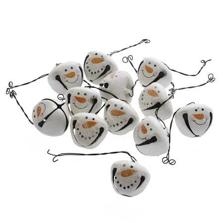 Snowmen Head Bells: Tin, 1.375 inches, 12 pack (Rusty Tin Bells)