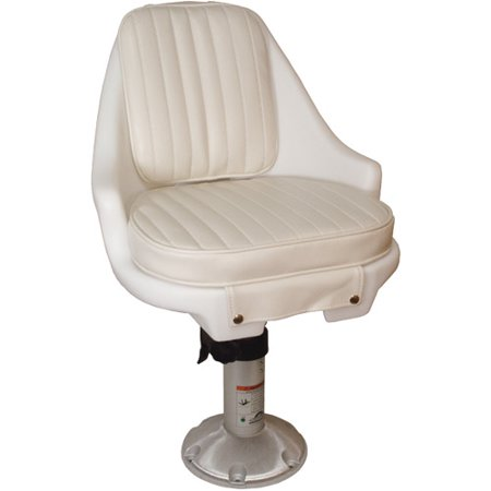 Springfield Newport Manual Adjustable Economy Chair Package, White (Includes Seat with Cushions, Pedestal, Mounting Plate and Swivel)