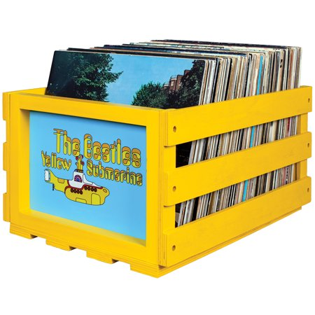 Beatles Yellow Submarine Record Crate Rustic Solid Wood Holds 40 -75 - Beatles Box