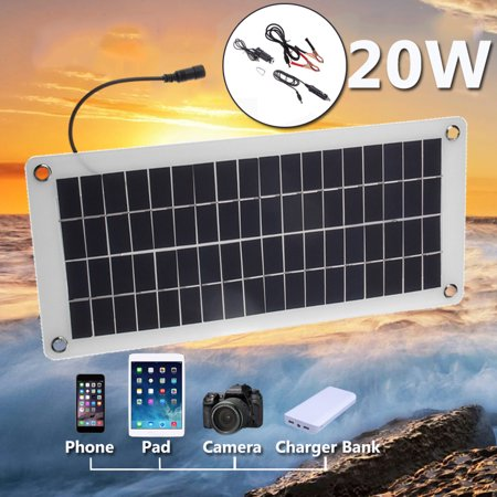 12V 20W 25W Waterproof Peak Semi Flexible Solar Panel Battery Controller Cell Charger Polysilicon Off Grid Starter Kit RV Portable Semi-flexible For Outdoor Home Boat