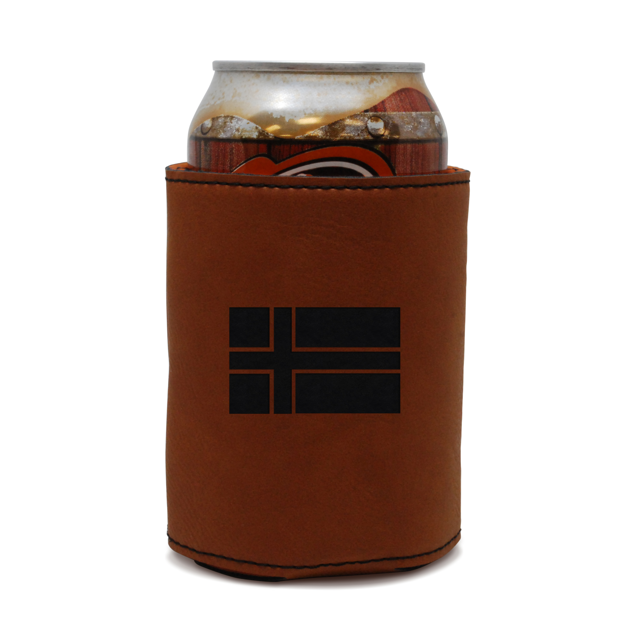 Icelandic Flag Leather Can Sleeve, Beer Sleeve, Beer Cooler, Beer Hugger by BigSpool Distributors
