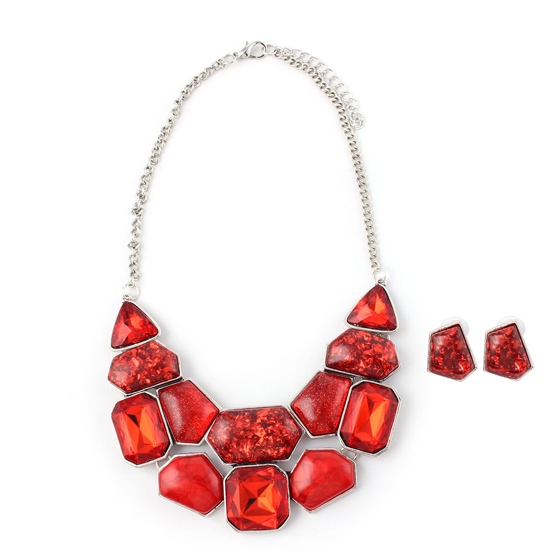 Women Metal Geometric Pattern Bib Collar Charming Necklace Earrings Red Set by Unique-Bargains