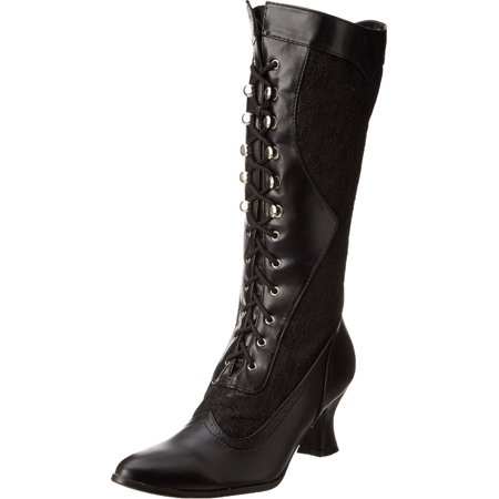 Womens Sexy Black Boots Lace Victorian Mid Calf Costume Boot 2 1/2 Inch