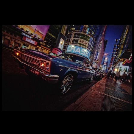 Led Lighted Nyc Times Square With Classic Chevrolet Car Canvas Wall Art 15 75 X 23 5 Walmart Com Walmart Com