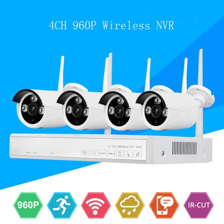 DID 2019 Upgrade 4CH AHD 960P CCTV Wireless NVR Camera Security System with 4 pcs IP Outdoor IR Night Vision Home Security Camera System White ,No wiring simple