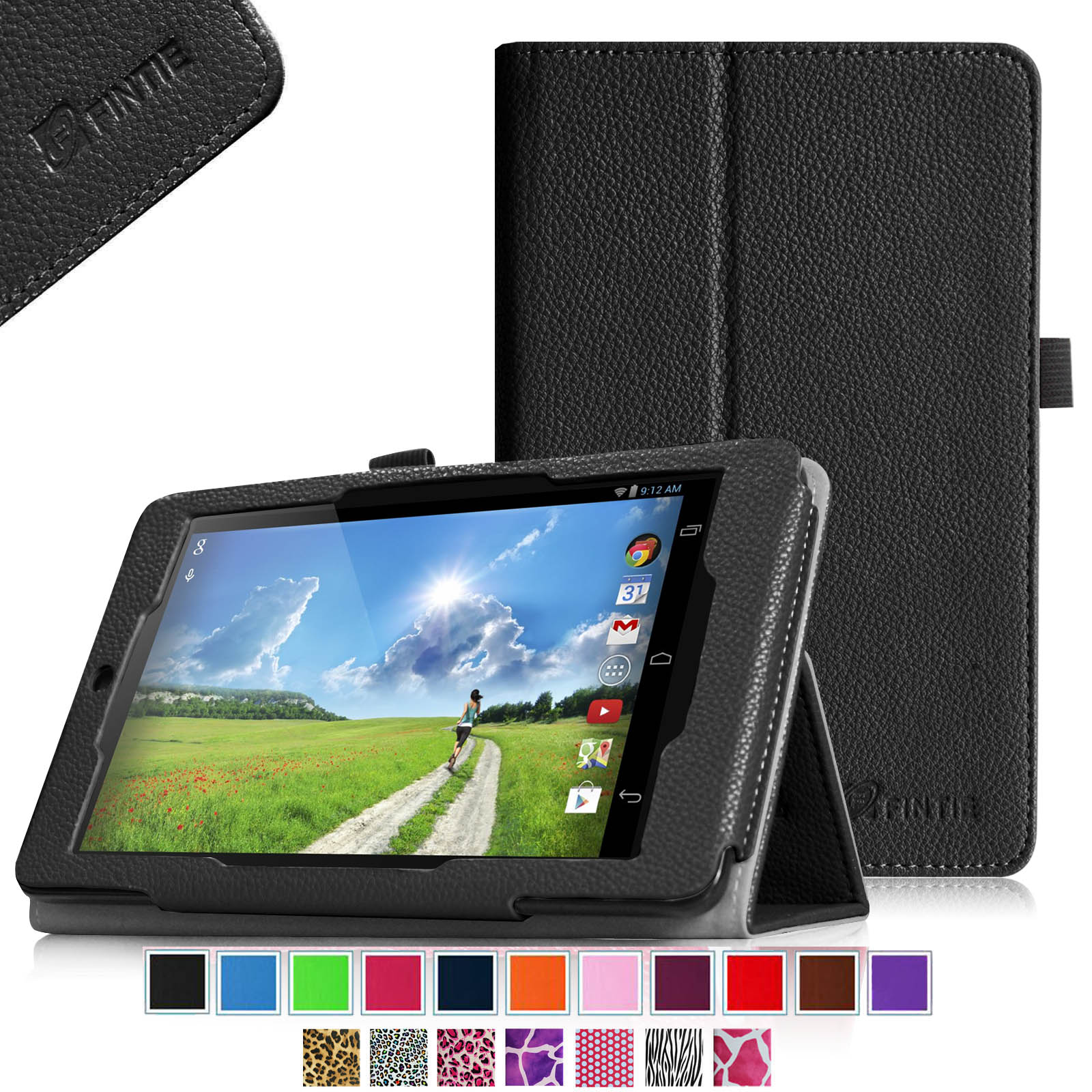 Fintie Acer Iconia One 7 B1-730HD Tablet Folio Case - Premium Vegan Leather Cover with Stylus Holder, Black