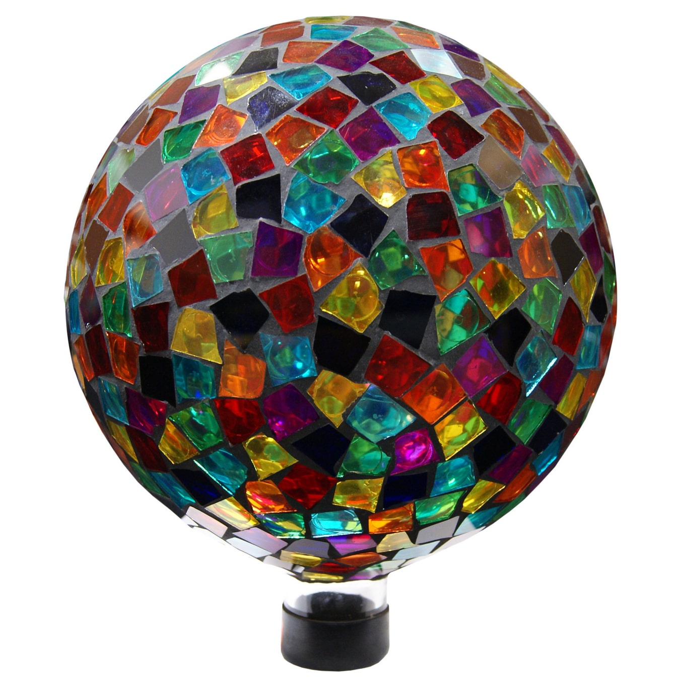 Alpine 10-inch Red  Blue  Yellow Mosaic Gazing Ball by Overstock