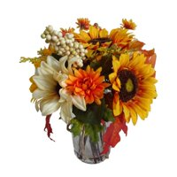 Way to Celebrate Harvest Mixed Bouquet With Glass Vase Fall Decoration (Yellow Sunflower)