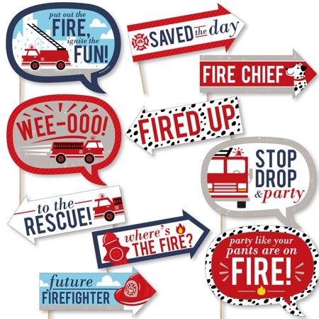 Funny Fired Up Fire Truck - Firefighter Firetruck Baby Shower or Birthday Party Photo Booth Props Kit - 10 Piece - Firetruck Party Supplies