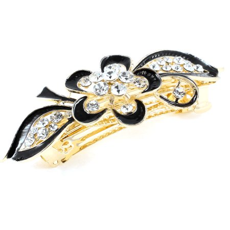 Women Gold Tone Rhinestone Ornament Floral Shaped Hair French Clip Barrette - image 1 of 1
