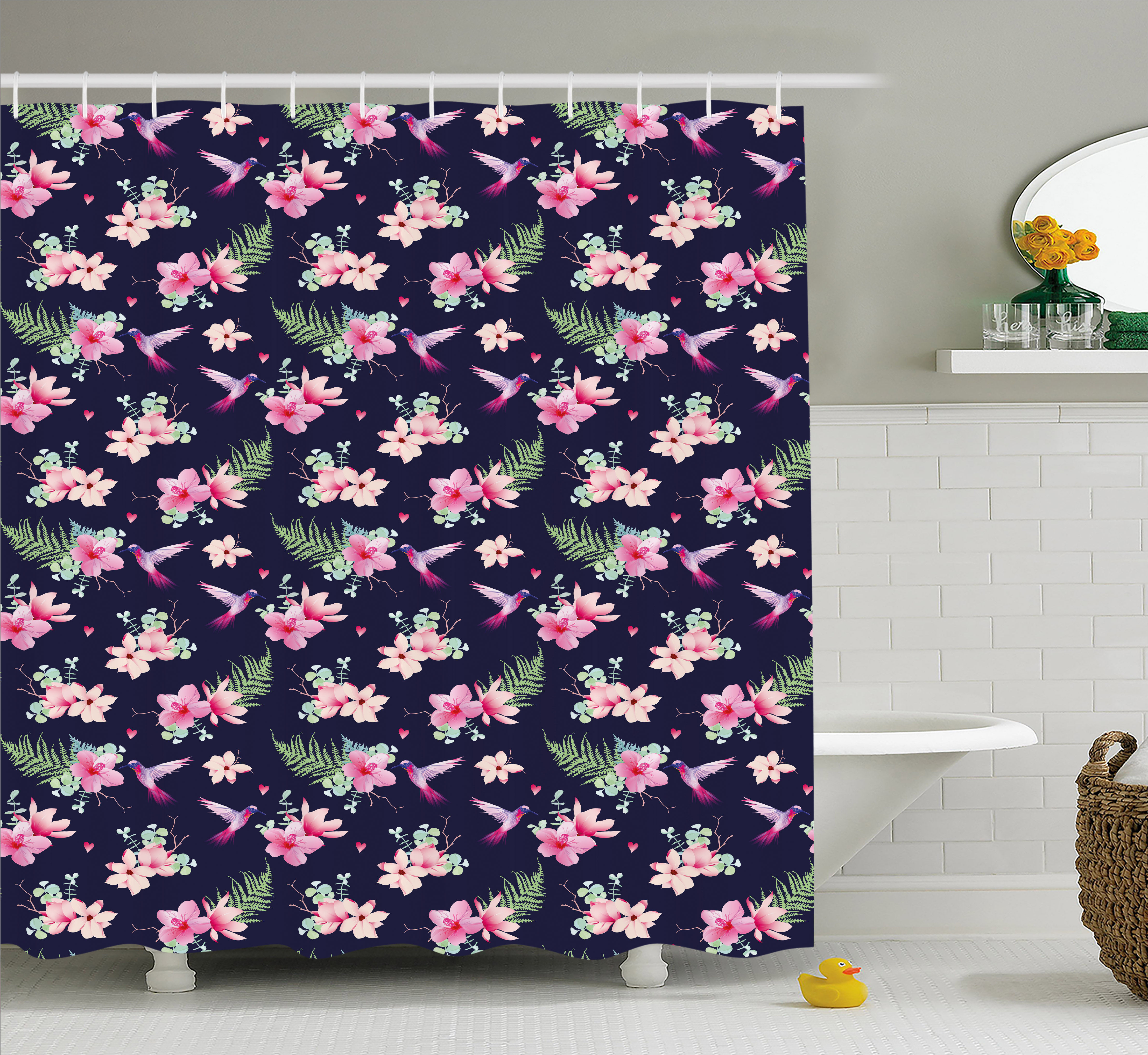Navy And Blush Shower Curtain, Tropical Flower Bouquets And Flying  Hummingbirds Tiny Little Hearts,