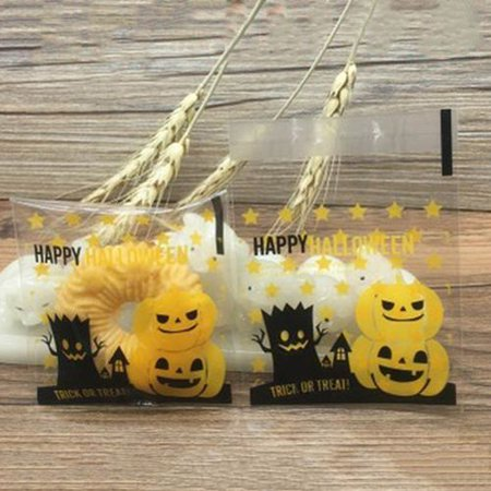 Bakery Story Halloween Android (KABOER 100 Pcs Halloween Cookie Candy Bags Self Adhesive Bakery Decorating bags Biscuit Roasting Gift DIY Plastic Bag for Halloween)