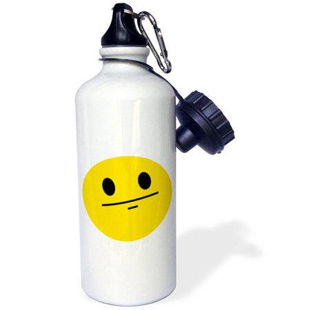 - 3dRose Poker face smiley Funny straight faced cartoon - Yellow emoticon serious no emotion expressionless, Sports Water Bottle, 21oz