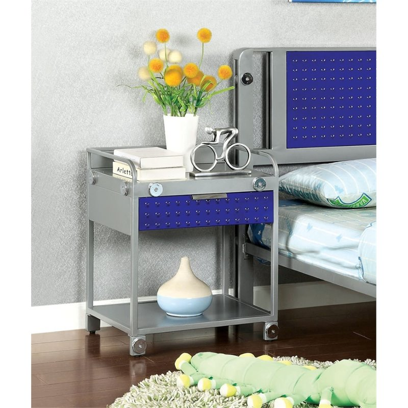 Furniture of America Alline Metal Tray Top Nightstand in Silver