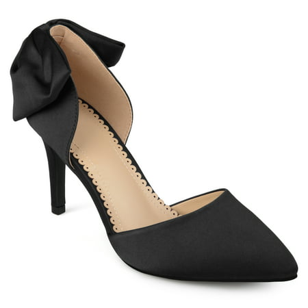 Nina Satin Pumps - Womens Satin D'orsay Pointed Toe Bow Pumps