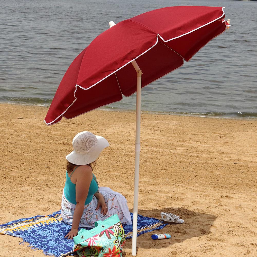 Sunnydaze 5 Foot Outdoor Beach Umbrella with Tilt Function, Portable, Red