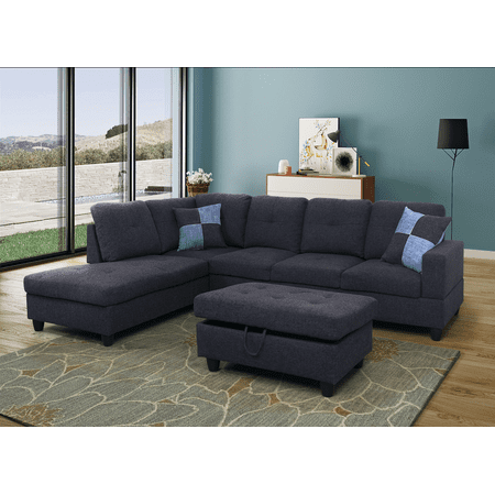 AYCP Furniture L Shape Sectional Sofa, Left Chaise, Black&Grey ...