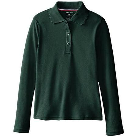 1e512ef8 FRENCH TOAST - Long Sleeve Picot Collar Interlock Polo Shirt (Little  Girls & Big Girls) - Walmart.com