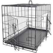 "OxGord 36"" Heavy Duty Foldable Double Door Dog Crate with Divider and Removable ABS Plastic Tray, 36"" x 22"" x 25"""