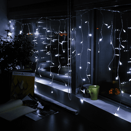 TORCHSTAR Extendable LED Christmas Icicle Lights for Festival, Pure (60ct White Led Snowflake Icicle String Lights)