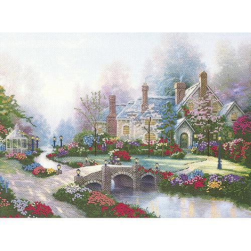 """M C G Textiles Thomas Kinkade Beyond Spring Gate Embellished Cross Stitch Kit, 12"""" x 16"""", Printed"""