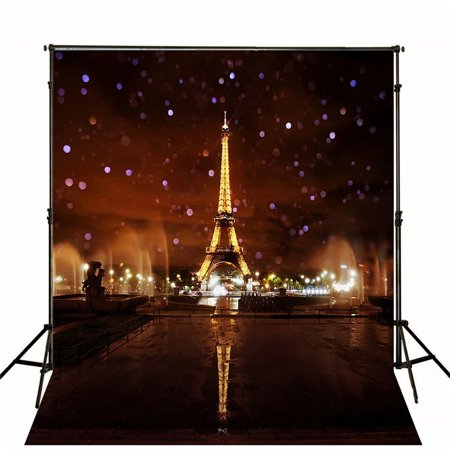 HelloDecor Polyester Fabric Photography Backdrop 5x7ft Paris Lighting Eiffel Tower Glitter Night Outdoor Scenic Backdrops for Wedding Photo Booth Props](Backdrops For Photobooth)
