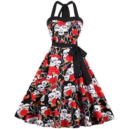 Ayli Women's Halter Neck Sleeveless 50s Halloween Skull Rose Midi Swing Dress, Black