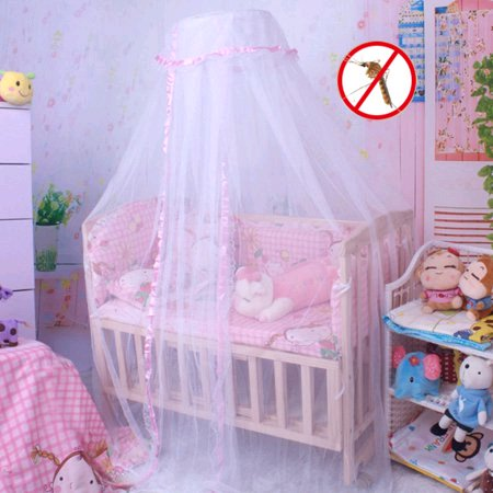 Round Mesh Dome Bed Canopy Netting Princess Mosquito Net with Lace Trim for Baby