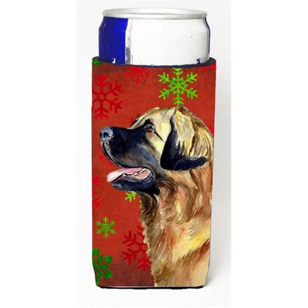 Leonberger Red and Green Snowflakes Holiday Christmas Michelob Ultra s for slim cans - image 1 de 1