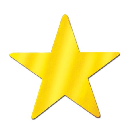 Club Pack of 36 Starry Night Themed Gold Metallic Foil Star Cutout Party Decorations - Star Themed Party