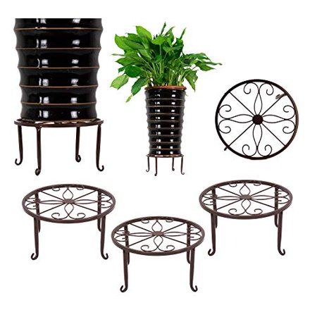 3 Pack Iron Potted Plant Stands Flower Pot Holder 9 inches Heavy Duty 50lb Pre-Assembled Round Rack, Bronze Color ()