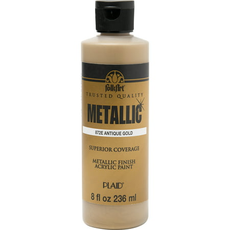 Folkart Metallic Antique Gold 8 oz - Metallic Fabric Paint