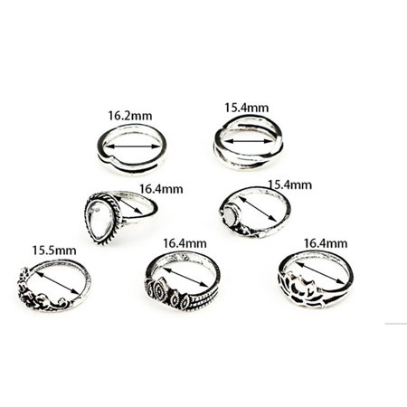 Mio Ring - Mid Ring Sets Faux Opal Brinco Crystal Knuckle Rings  7 pc set