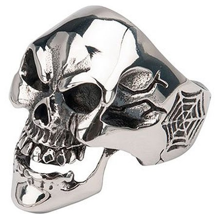 INOX JEWELRY Mens Sovereign Steel Black Oxidized Skull Web - Mens Skull Rings