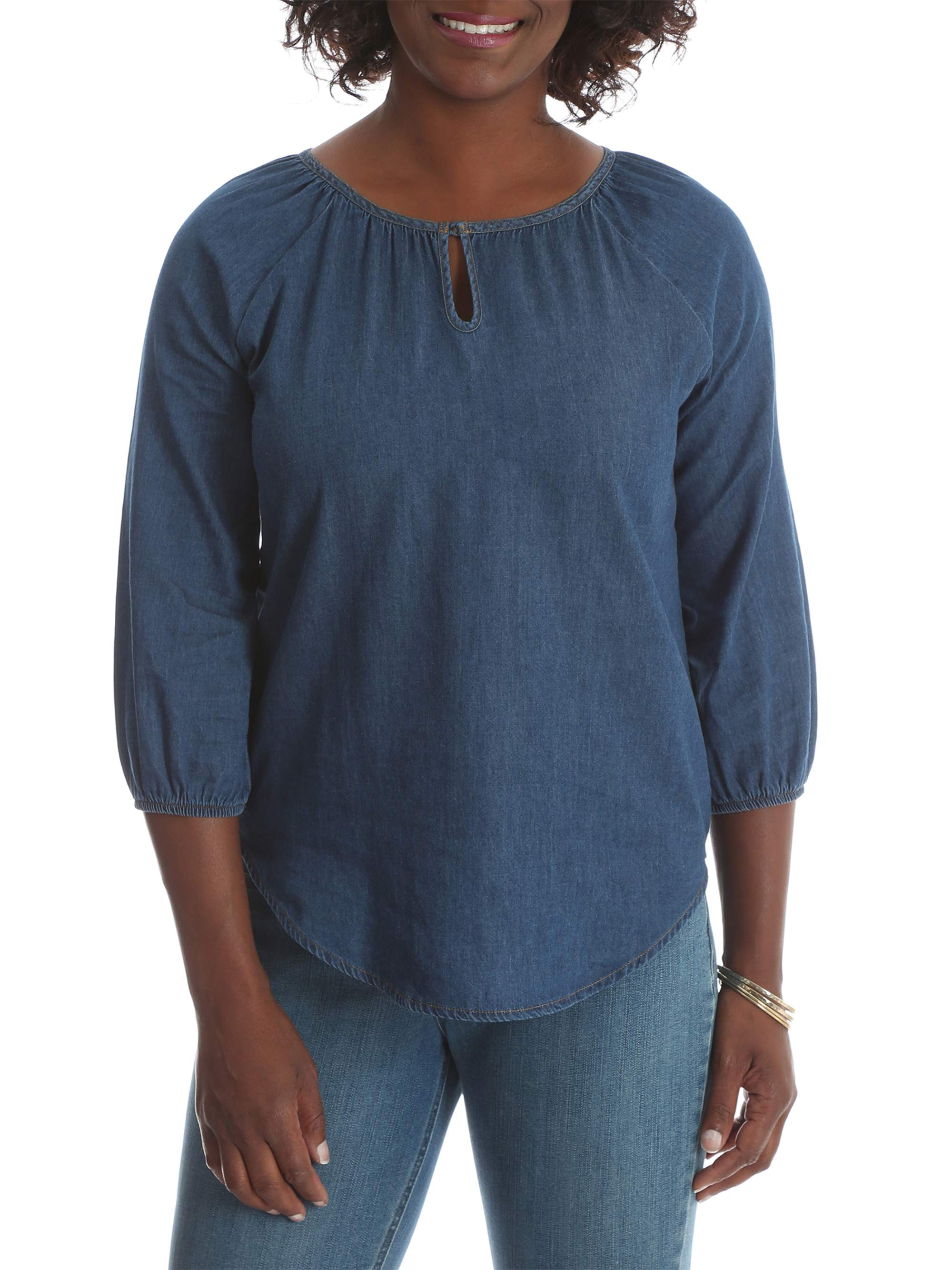 ea6f9622dbb13 Riders by Lee - Women s 3 4 Sleeve Denim Pullover Top - Walmart.com