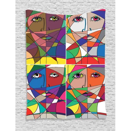 Abstract Home Decor Wall Hanging Tapestry, Abstract Woman Face Illustration Behind Stained Glass Human Facial Feature, Bedroom Living Room Dorm Accessories, By Ambesonne