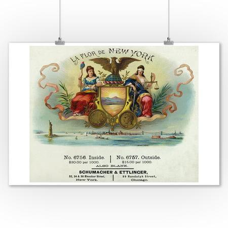 La Flor de New York Brand Cigar Box Label (9x12 Art Print, Wall Decor Travel -