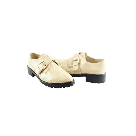 - Liyu Adult Beige Snake Skin Pattern Buckle Strap Oxford Shoes