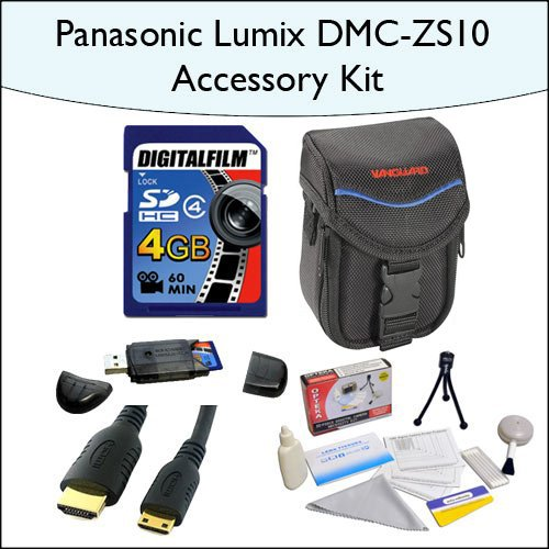 4GB Accessory Package for Panasonic DMC-ZS10 Including 4GB SDHC High Speed Memory Card, Vanguard Sydney-6B... by Opteka