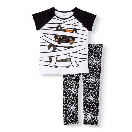 Duo Halloween Outfits (Halloween Toddler Girl Short Sleeve Graphic T-Shirt & Printed Leggings, 2pc Outfit)