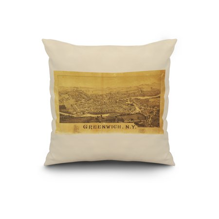 Greenwich, New York - Panoramic Map (20x20 Spun Polyester Pillow, White Border)