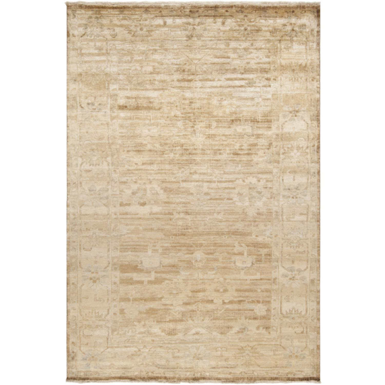 2' x 3' Konya Safari Tan and Cinnamon Spice Rectangular Wool Area Throw Rug