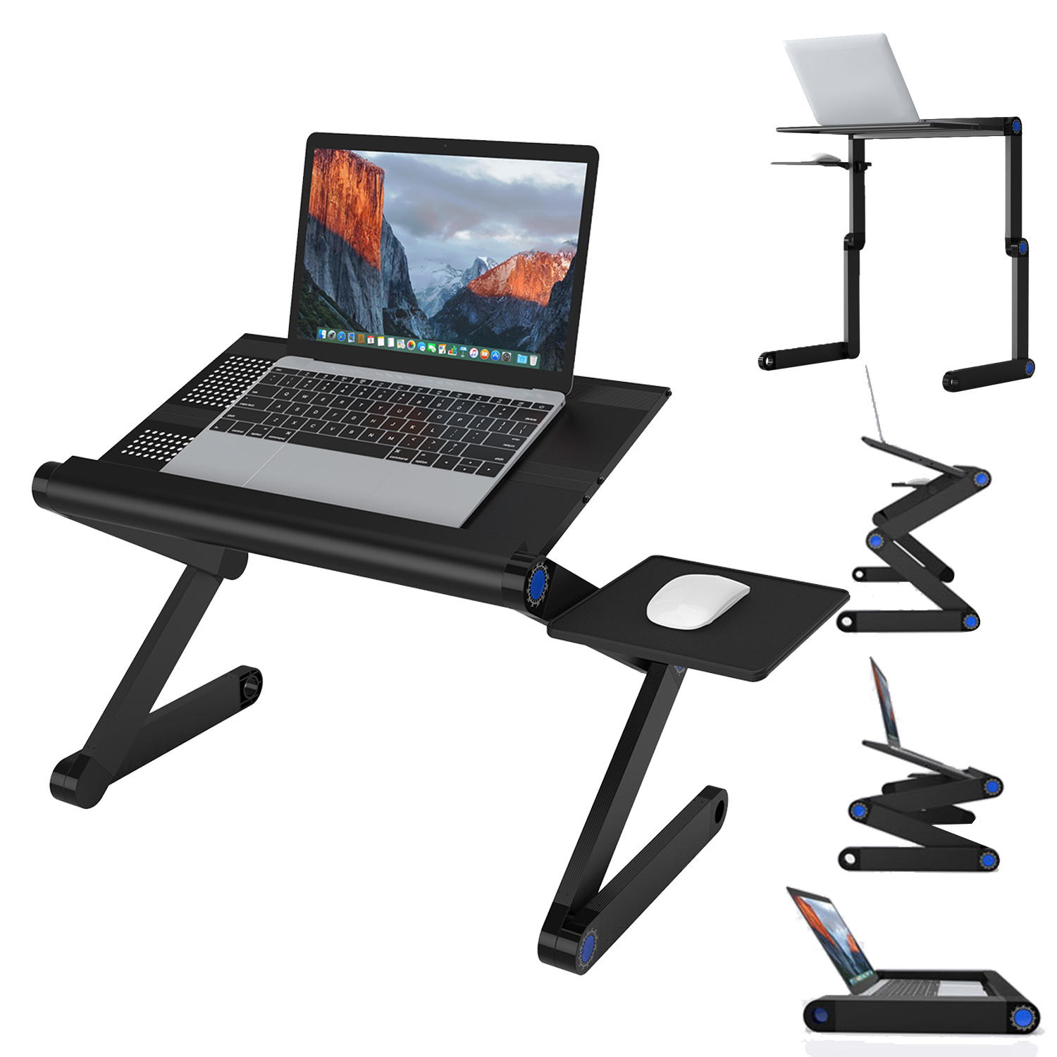 SLYPNOS Adjustable Laptop Stand Folding Portable Standing Desk Ventilated  Aluminum Laptop Riser Tablet Holder Notebook Tray