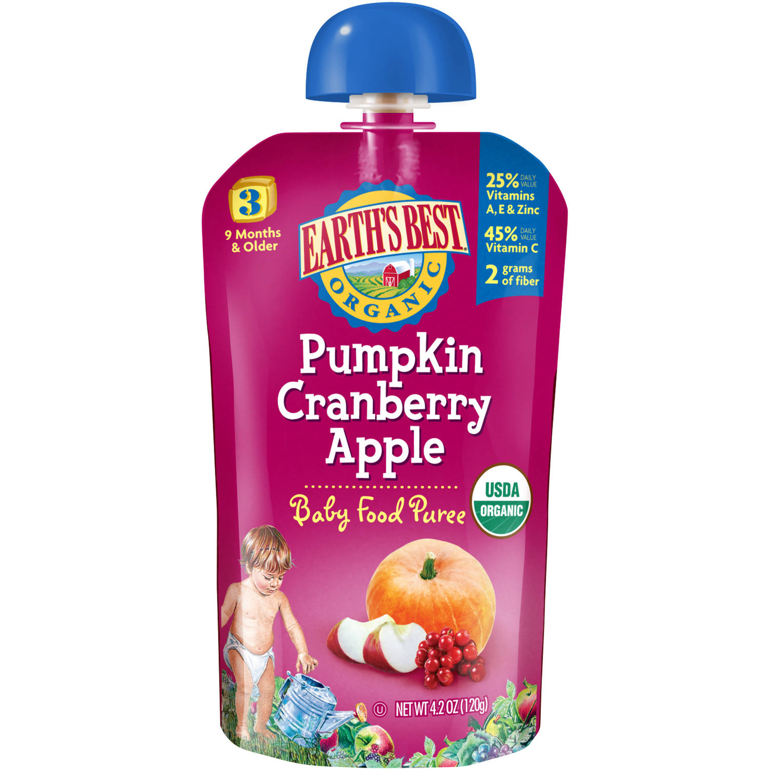 Earth's Best Organic Pumpkin Cranberry Apple Baby Food Puree, 4.2 oz, (Pack of 6)