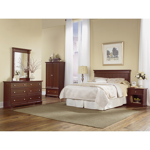 Sauder Palladia 4 Piece Bedroom Set, Cherry