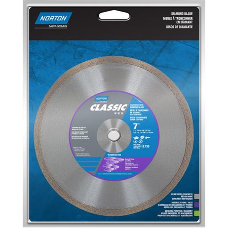 Classic 7 in. Dia. Continuous Rim Diamond Saw Blade For Natural Stone and Tiles 10 Stone Saw