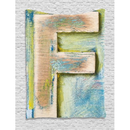 Letter F Tapestry, Damaged Worn Uppercase F Printing Symbol Antique Letterpress Block Typeface, Wall Hanging for Bedroom Living Room Dorm Decor, 40W X 60L Inches, Green Blue Tan, by Ambesonne
