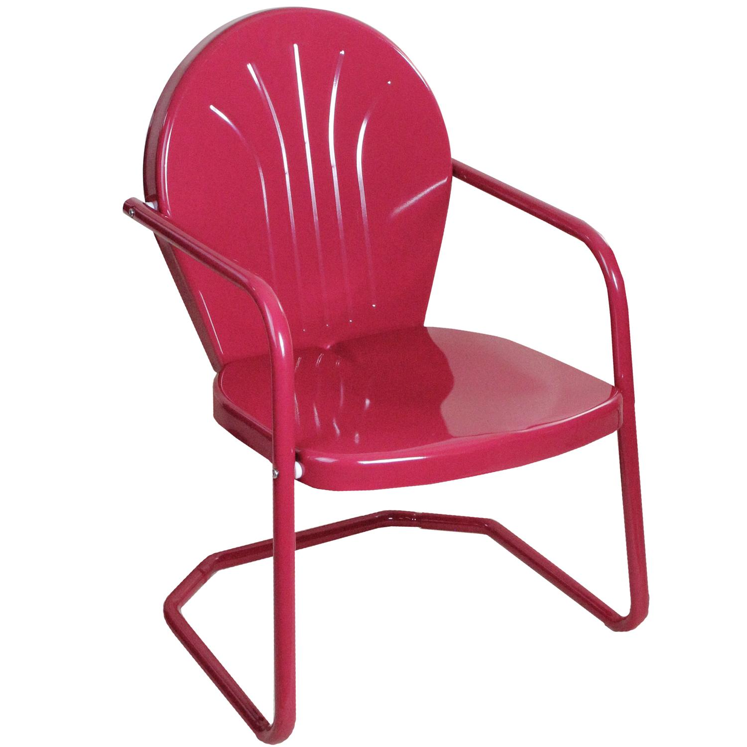 Genial Retro Style 34 Inch Outdoor Metal Tulip Chair, Raspberry Pink