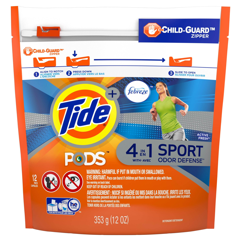 Tide PODS Plus Febreze, Sport Odor Defense Liquid Laundry Detergent Pacs, Active Fresh Scent, 12 count